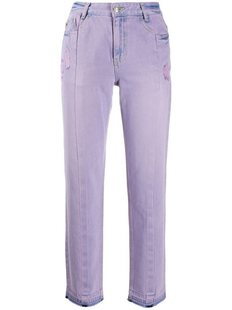 SJYP high-rise cropped washed jeans in purple