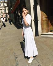 dress,maxi dress,white dress,short sleeve dress,green bag