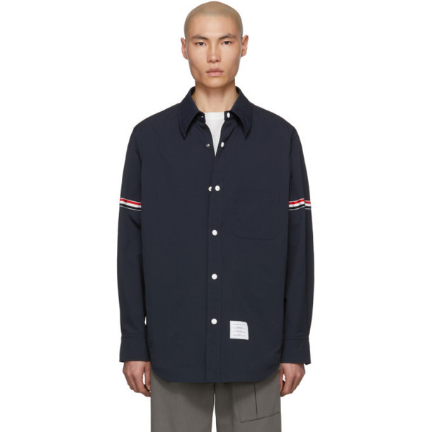 Thom Browne Navy Armband Snap Front Jacket