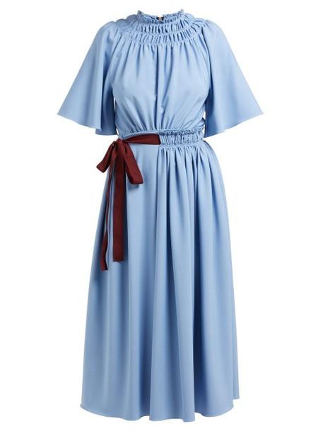 Roksanda - Silba Belted Midi Dress - Womens - Blue Multi
