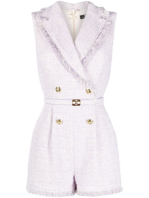 Elisabetta Franchi tweed double-breasted playsuit in purple