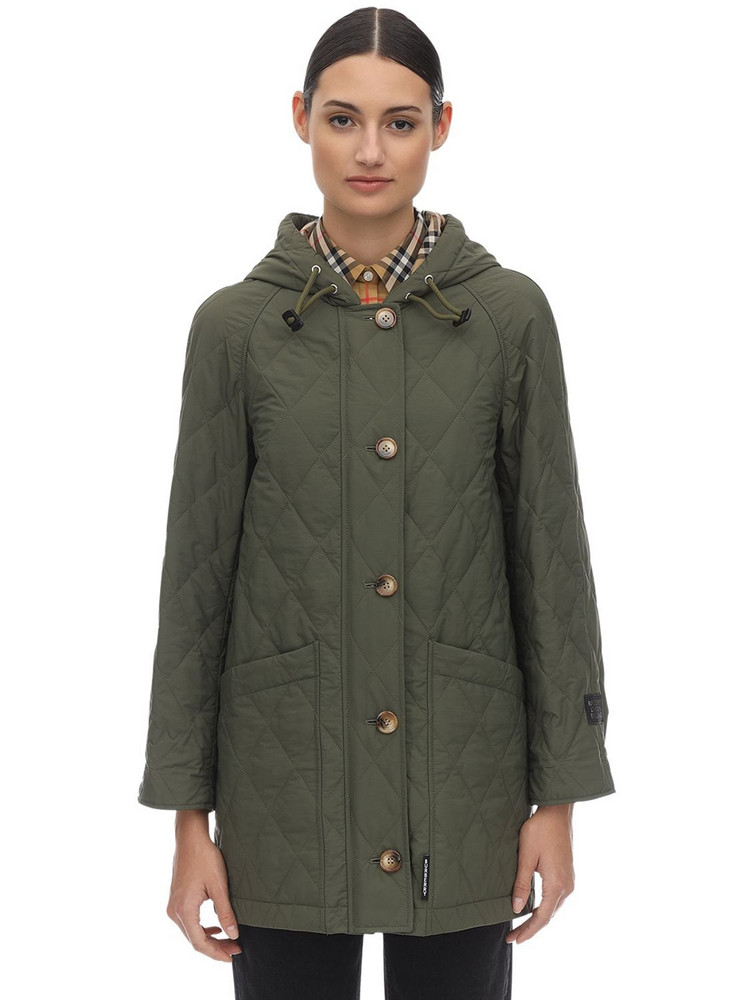 BURBERRY Quilted Techno Midi Coat in green