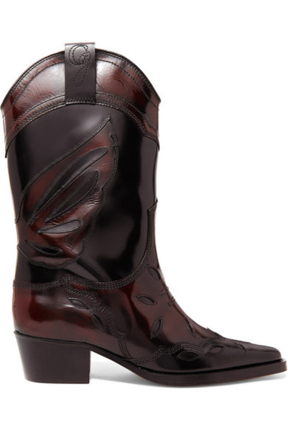 GANNI - Marlyn Embroidered Patent-leather Boots - Black