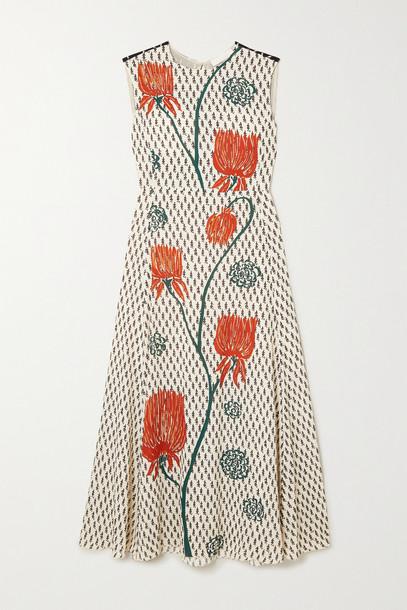 CHLOÉ CHLOÉ - Floral-print Crepe De Chine Midi Dress - Neutrals