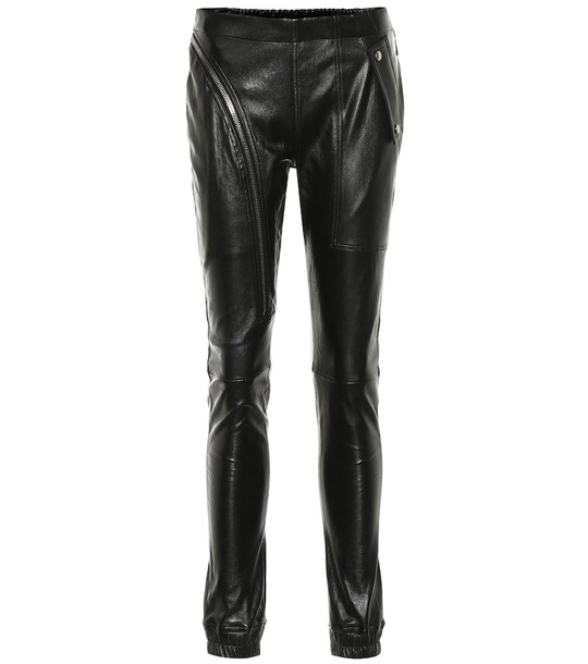 Rick Owens Mid-rise skinny leather pants in black