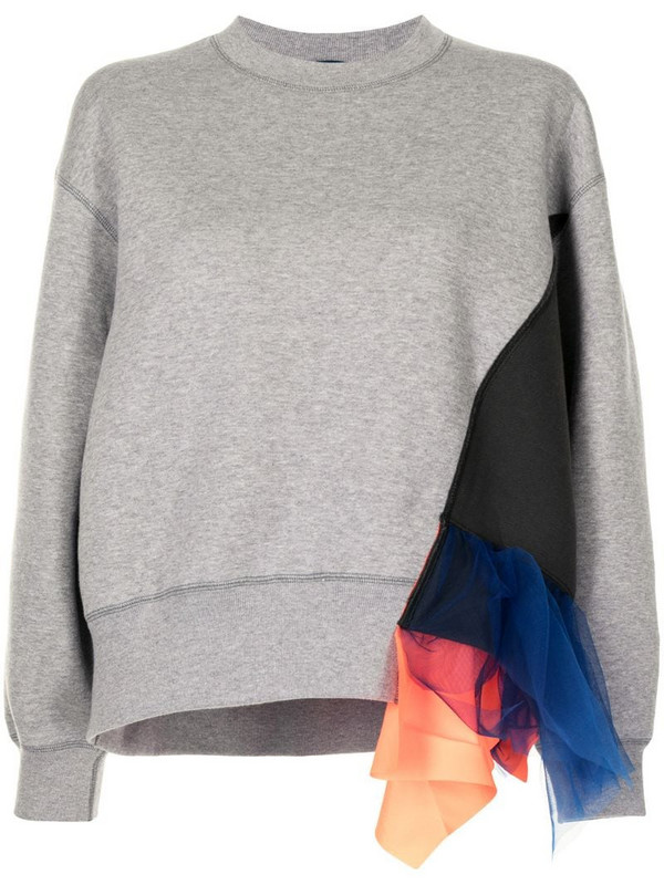 Kolor tulle-embellished panelled sweatshirt in grey
