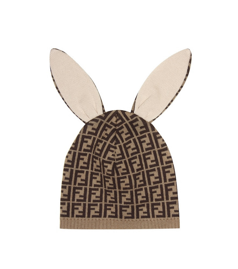 Fendi Kids Baby cotton and cashmere hat in brown