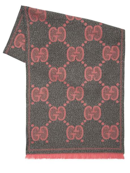 GUCCI Gg Lurex Wool Scarf in pink