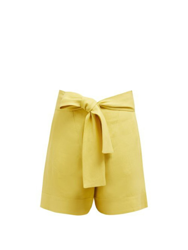 Zeus + Dione Zeus + Dione - Minos High Rise Linen Shorts - Womens - Yellow