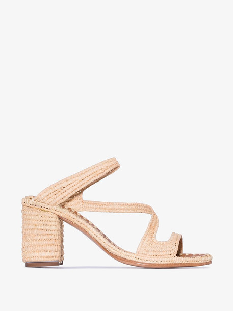 Carrie Forbes neutral Salah 30 raffia and leather sandals