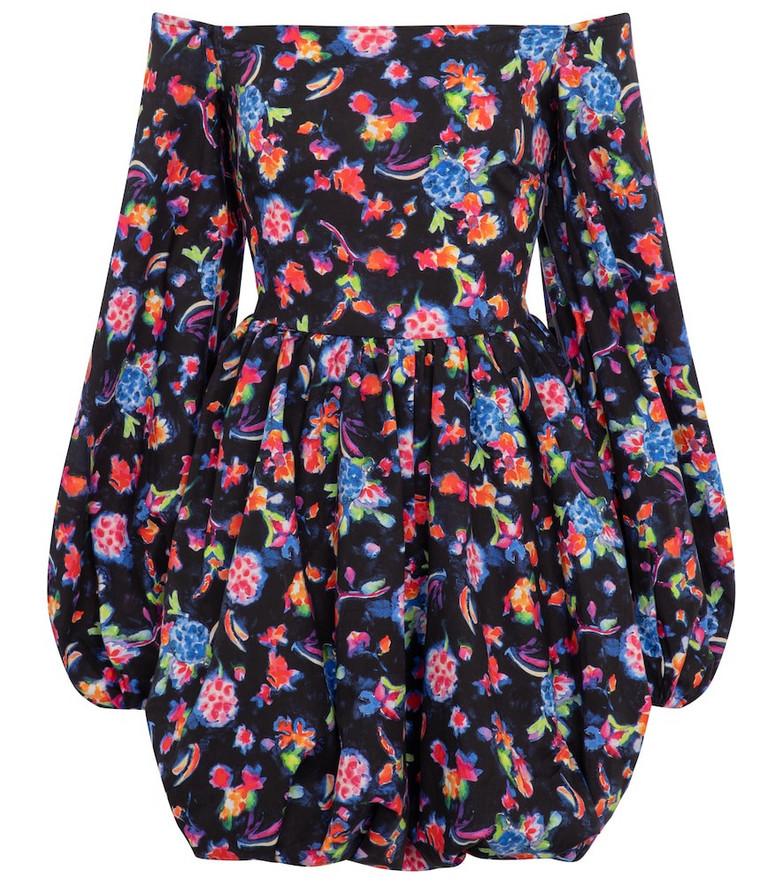Caroline Constas Georgina floral cotton-blend minidress in black