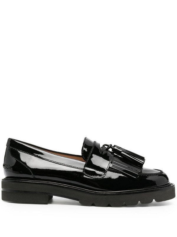 Stuart Weitzman Mila Lift fringed loafers in black