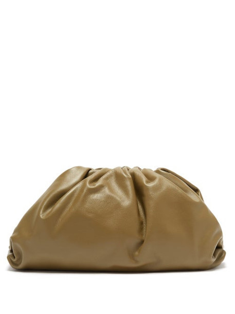 Bottega Veneta - The Pouch Large Leather Clutch Bag - Womens - Khaki