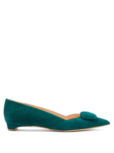 Rupert Sanderson - Aga Pebble Point Toe Suede Flats - Womens - Dark Green