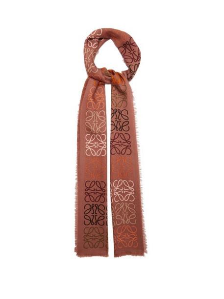 Loewe - Anagram-knitted Wool-blend Scarf - Womens - Brown