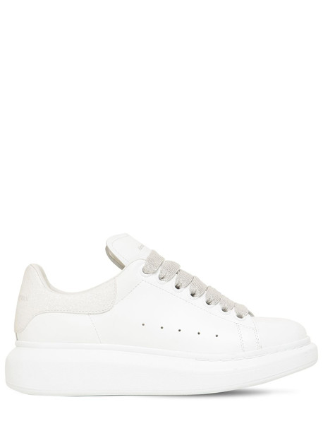 ALEXANDER MCQUEEN 45mm Leather & Glitter Sneakers in white