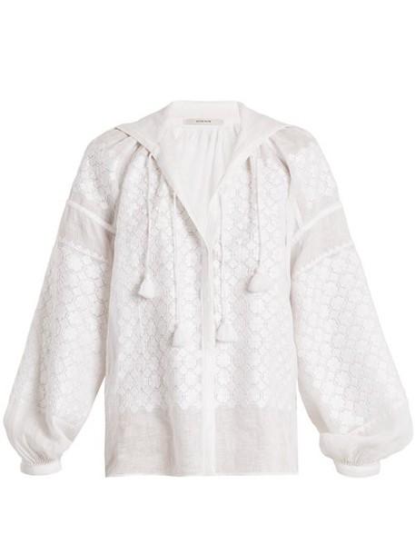 Vita Kin - Strawberry Field Lightweight Linen Blouse - Womens - White