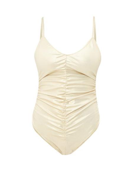 Lisa Marie Fernandez - Ruched Metallic Swimsuit - Womens - Gold