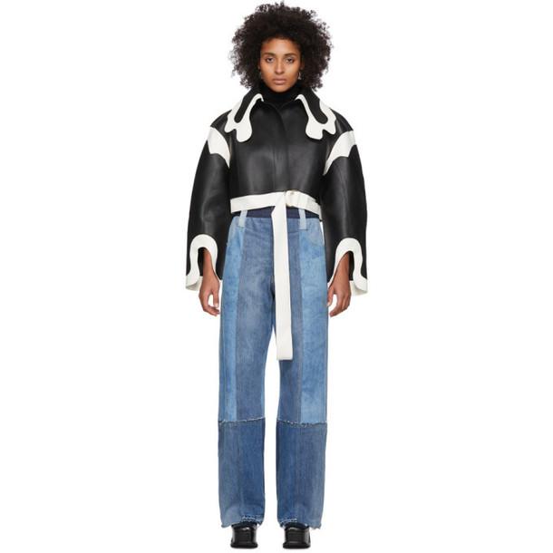 Lecavalier Black and White Short Cowboy Collar Coat