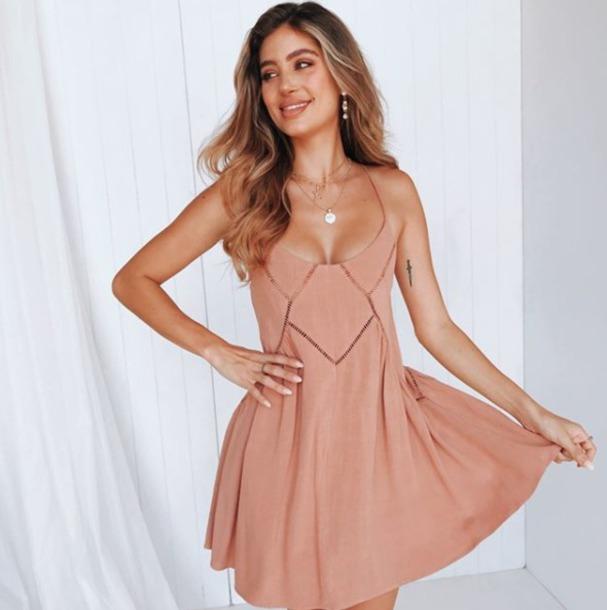 dress dusty pink mini summer cut-out flowy sleeveless rose