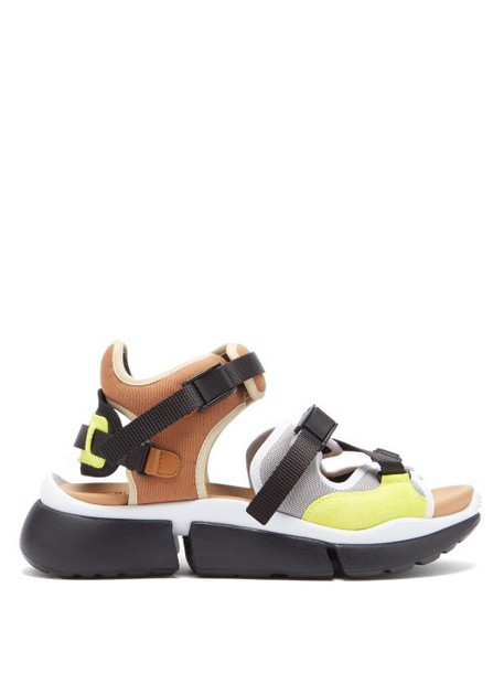 Chloé Chloé - Sonnie Raised Sole Mesh And Suede Trainer Sandals - Womens - Beige Multi