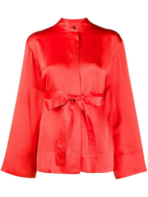 McQ Swallow wide sleeves belted silk blouse in red