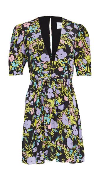 LES REVERIES Gigi Mini Dress in black / purple