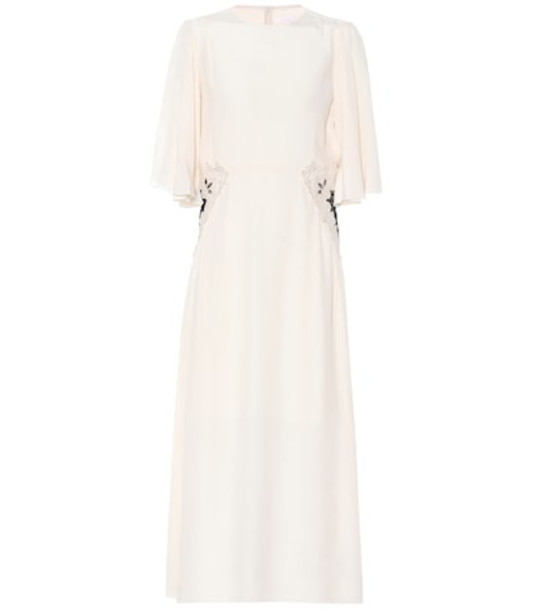 See By Chloé Lace-trimmed silk-blend dress in white