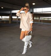 bag,white bag,white boots,knee high boots,sweater