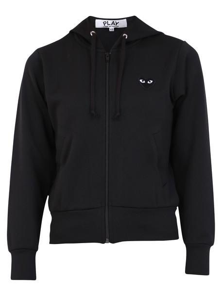 Comme des Garçons Play Zipped Hoodie in black