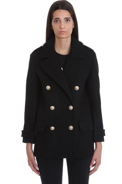 Balmain Coat In Black Wool