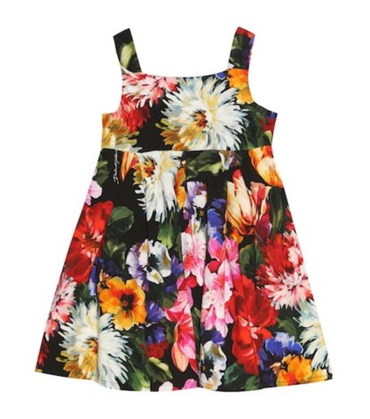 Dolce & Gabbana Kids Floral cotton-blend dress in black
