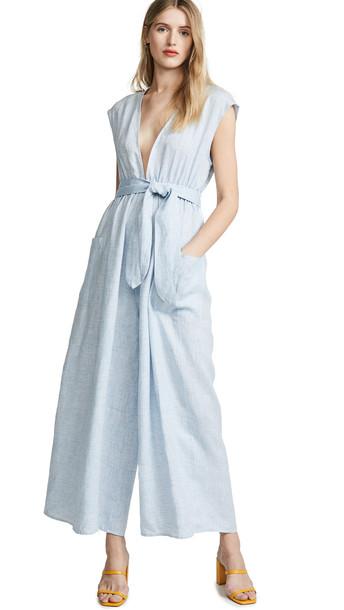 Mara Hoffman Whitney Jumpsuit in blue / white