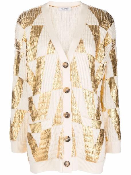 Valentino intarsia-logo cardi-coat - Neutrals