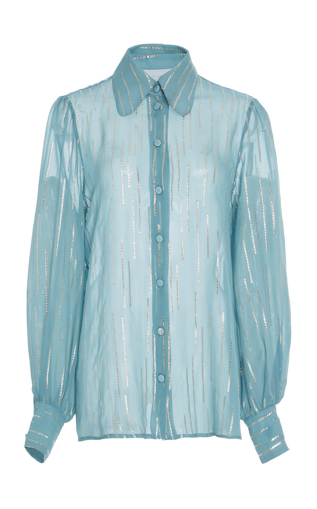 Luisa Beccaria Silk-Blend Chiffon Pussy Bow Blouse in blue