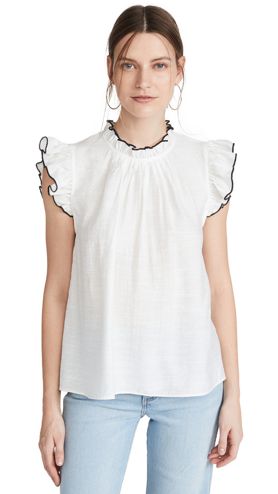 ENGLISH FACTORY Ruffle Blouse in white