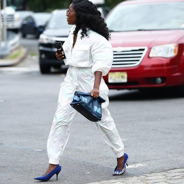 shoes pumps balenciaga white jumpsuit bag