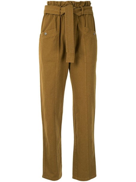 Sea belted straight-leg trousers in brown