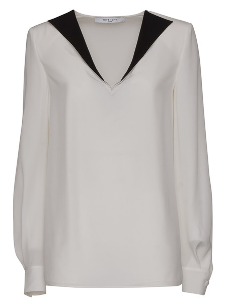 Givenchy Crepe De Chine Blouse With Contrast Lapel in bianco