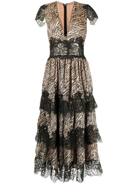 Costarellos Daralisa tiger-print chiffon dress in brown