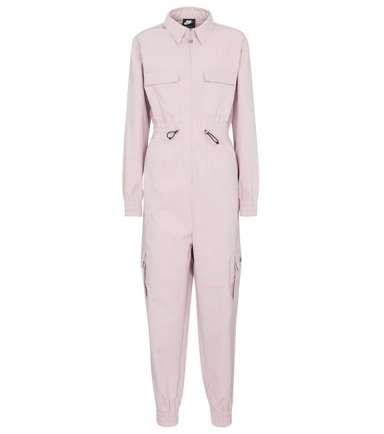 Nike Swoosh drawstring twill jumpsuit in pink