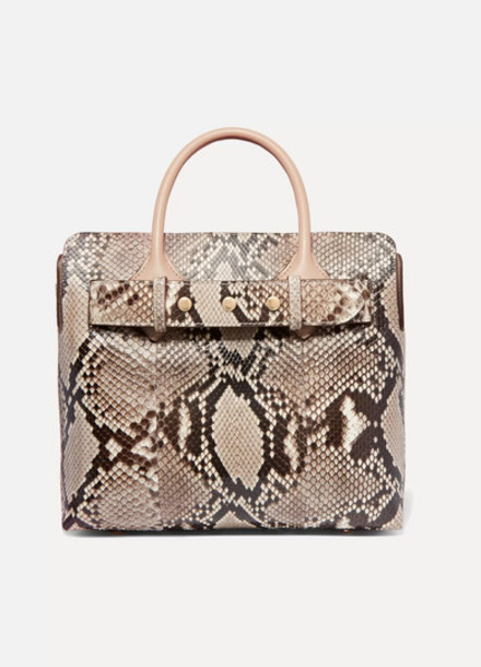 Burberry - Belt Small Python And Leather Tote - Beige