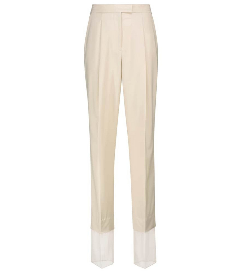 Low classic High-rise straight wool-blend pants in beige