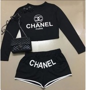 shirt,black,white,black and white,shorts,long sleeves,crop tops,chanel,designer,classy,ootd,outfit,sleepwear,pajamas,top,cropped,cropped t-shirt,black crop top,black and white shorts,pants