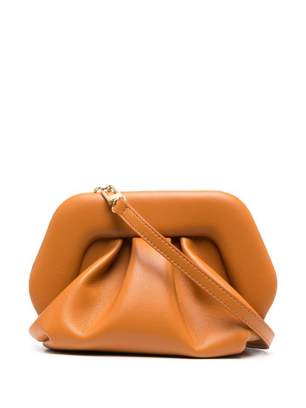 Themoirè Gea vegan leather clutch in brown