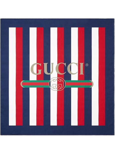 blue, white and red Gucci logo Sylvie stripe silk scarf