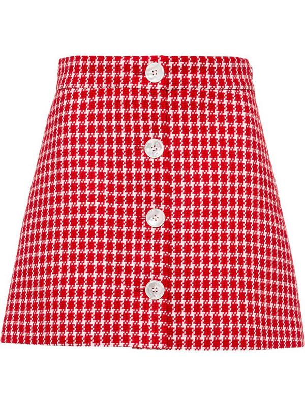 Miu Miu tweed buttoned mini skirt in red