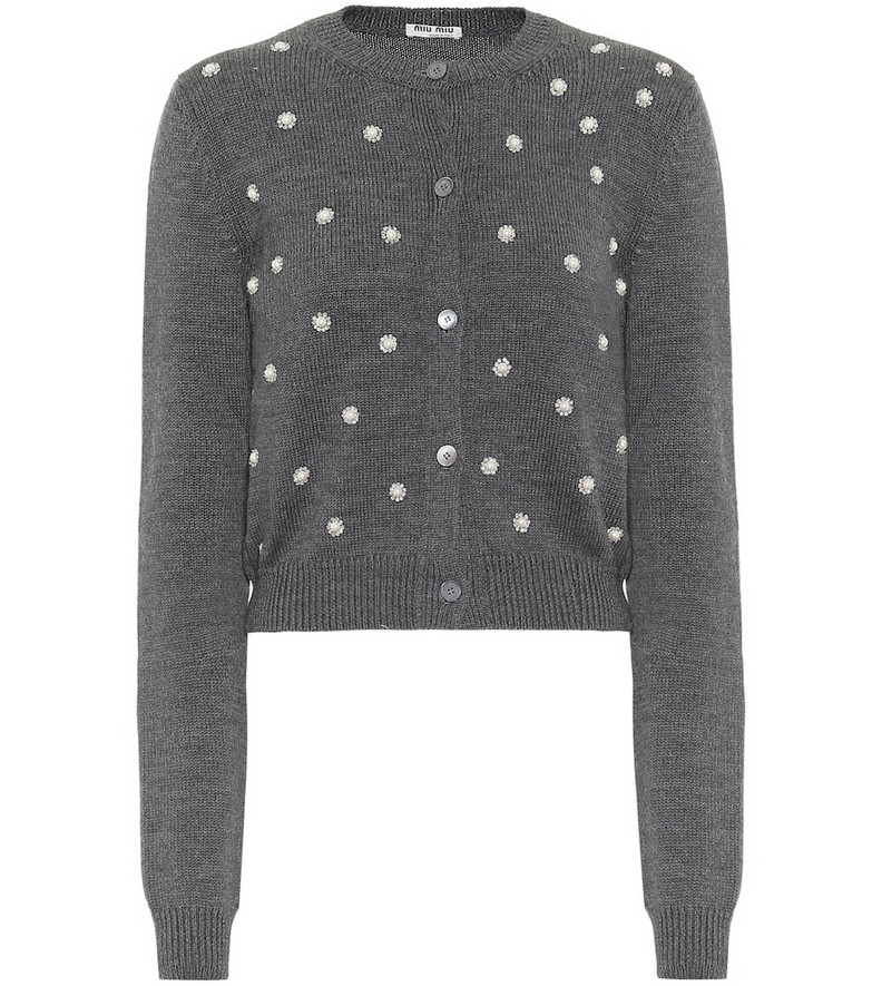 Miu Miu Embellished virgin wool cardigan in grey