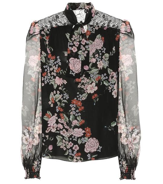 Giambattista Valli Floral silk-chiffon blouse in black