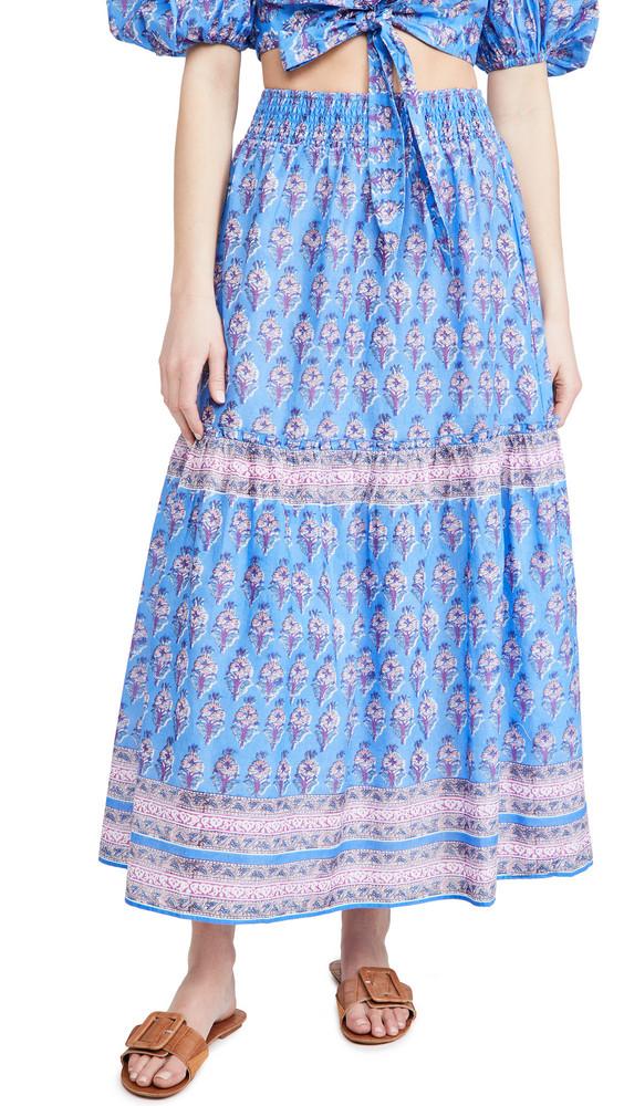 Playa Lucila Border Print Skirt in blue / multi